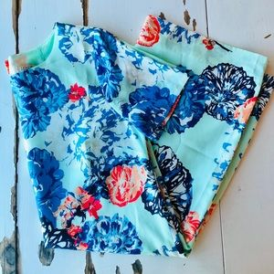 J. Crew Factory Turquoise Floral Dress